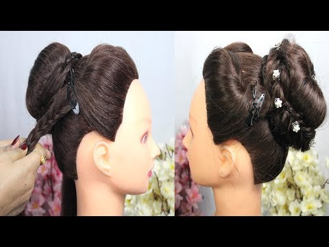 very-easy-bridal-bun-hairstyle-for-party-||-bridal-hairstyles-for-wedding-||-latest-2019-hairstyles