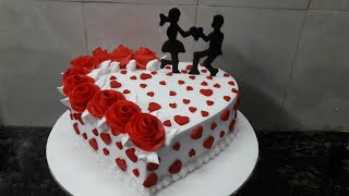 How to make Engagement cake heart shape cake making by New Cake Wala