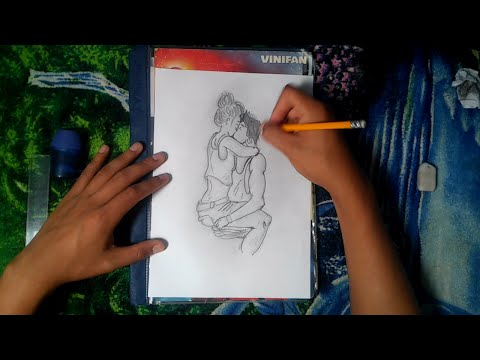 Speed Drawing Couple Kissing Dibujando A Pareja Besandose