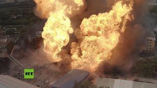 Imgenes areas del incendio en una central termoelctrica cerca de Mosc
