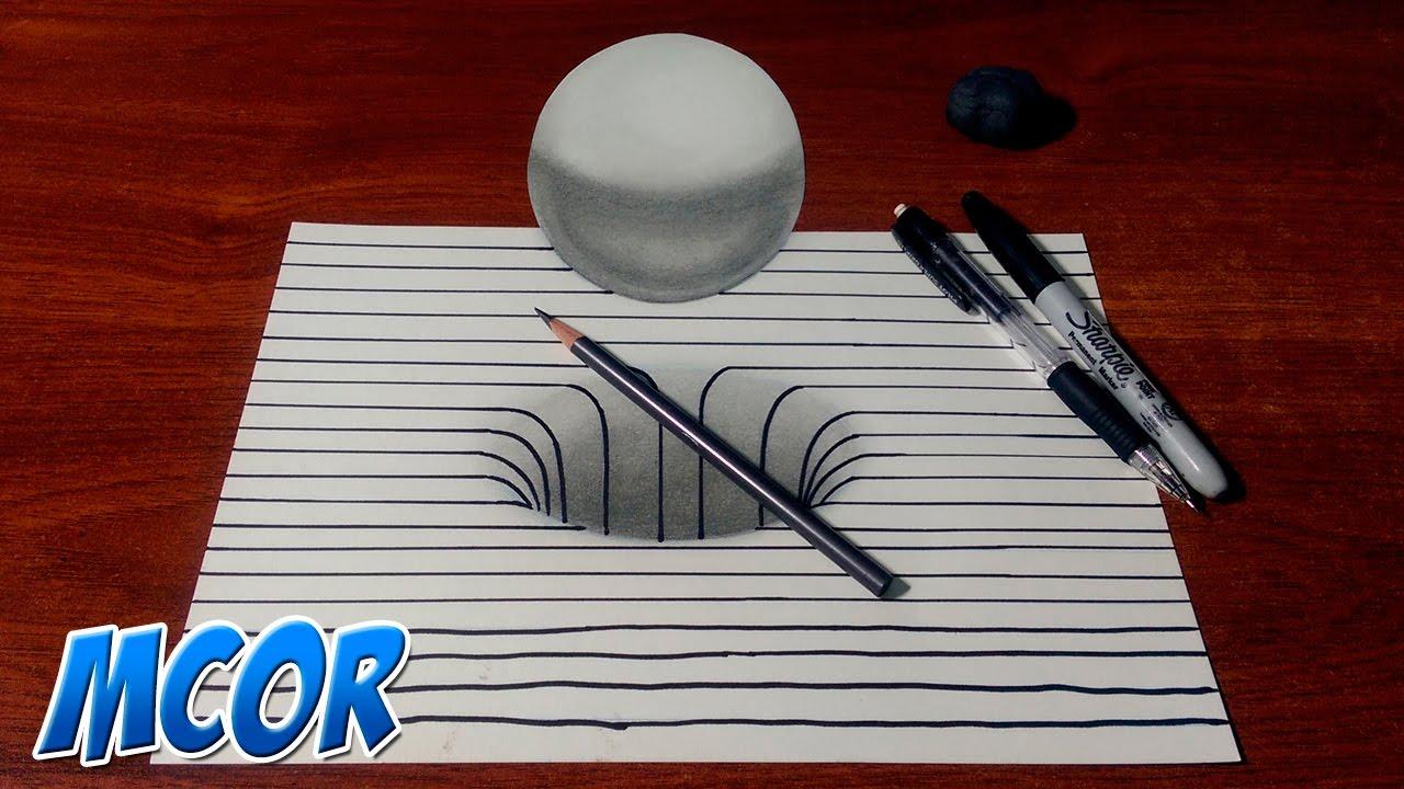 Como Dibujar Un Corazón En 3d Con Lineas: Dibujando Un Hoyo Y Esfera 3D Con Lineas