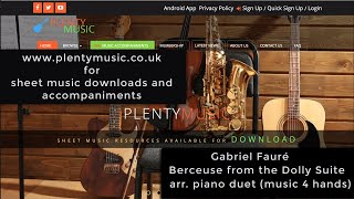 Fauré G. | Berceuse (from the Dolly Suite Opus 56) arr. piano duet (piano 4 hands)