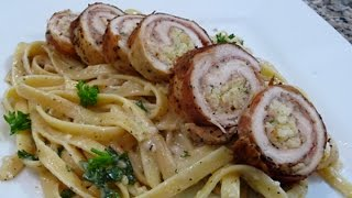 Receta Rollos de Pollo con Jamon Serrano , facil  y deliciosa