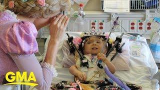23-month-old girl gets surprise Disney princess send-off after 6-week hospital stay | GMA Digital