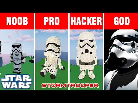 Minecraft NOOB vs PRO vs HACKER vs GOD: BUILD STORMTROOPER CHALLENGE in Minecraft