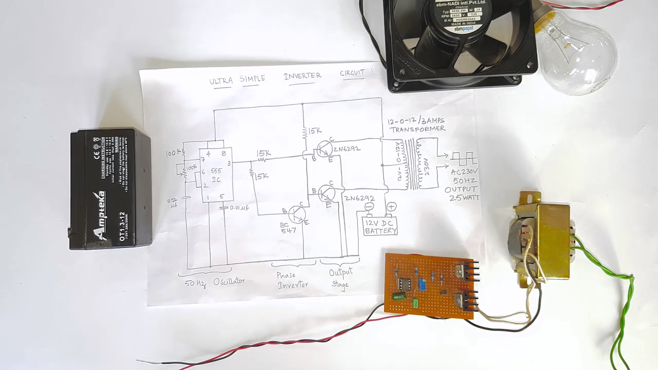 How To Dc 12v Ac 240v Inver Youtube Inverter