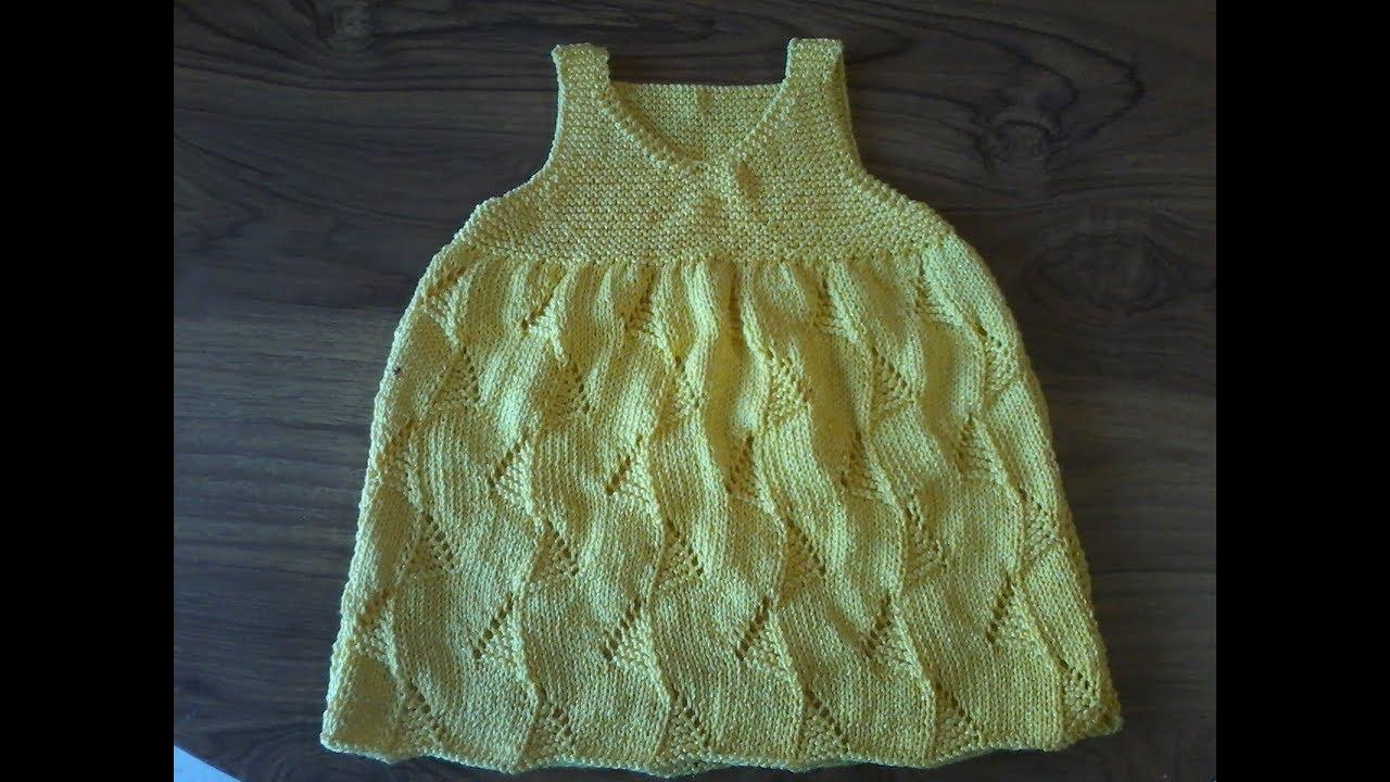 tuto tricot layette / tricoter une robe fantaisie pour bébé - YouTube
