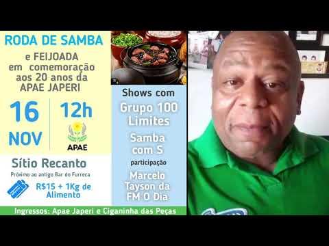 Convite para a roda de samba em prol da APAE Japeri
