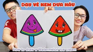 Dạy vẽ que kem dưa hấu dễ thương từng bước dễ hiểu ♥ How to draw a Watermelon ice cream ♥