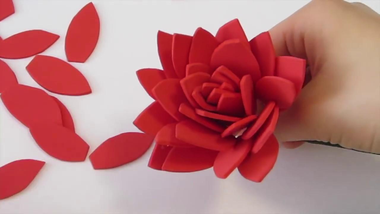 How To Make Dahlia Flower Using Foam Paper Youtube