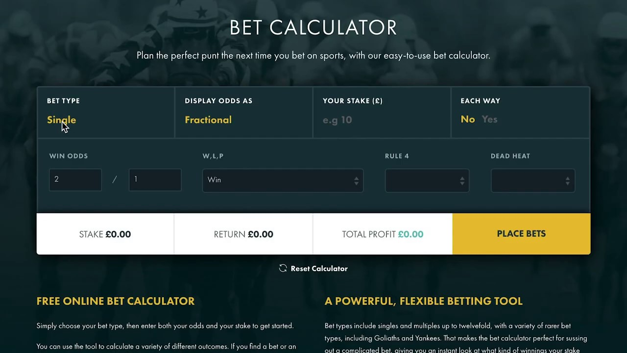 Free bet calculator calculate your sports bet returns betting on the next president