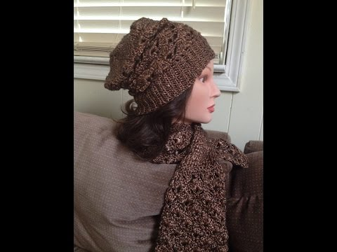 Crotchet hat and scarf- Patons Metallic Gold