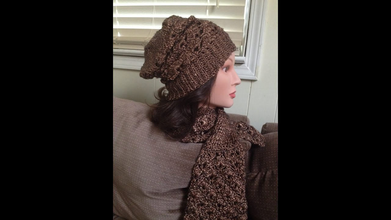 Crotchet hat and scarf- Patons Metallic Gold - YouTube