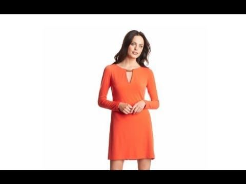 Women's Long-Sleeve Shift Dress with Keyhole Neck and Hardware