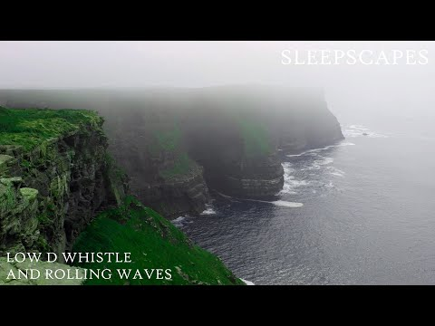 10 Hours Best Relaxing Sleep Music: Low D Whistle and Rolling Waves
