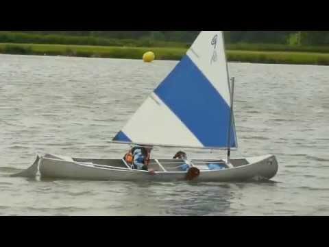 Canoe Sailing - My First Sail in Grumman Open Sailing Canoe