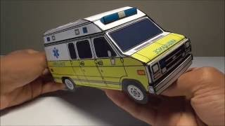 JCARWIL PAPERCRAFT 1996 Chevy G30 Ambulance (Building Paper Model Car)