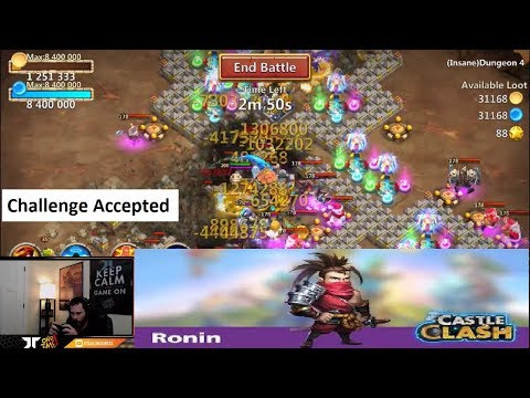 Ronin Challenge INSANE SPEED CLEAR Crazy Video INSANE Dungeon Castle Clash