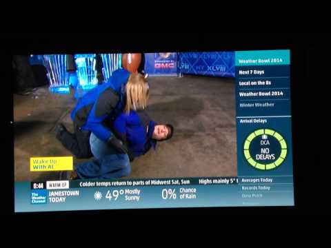 Stephanie Abrams knees Mike Bettes in the groin on the Weather Channel