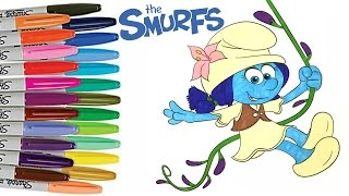 Smurfs The Lost Village SMURF LILY Coloring Book Page How to Color Smurfs