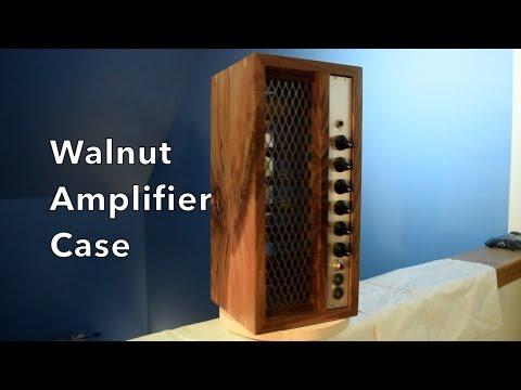 Walnut guitar amplifier case - highly figured with copper splines - by residentmaker