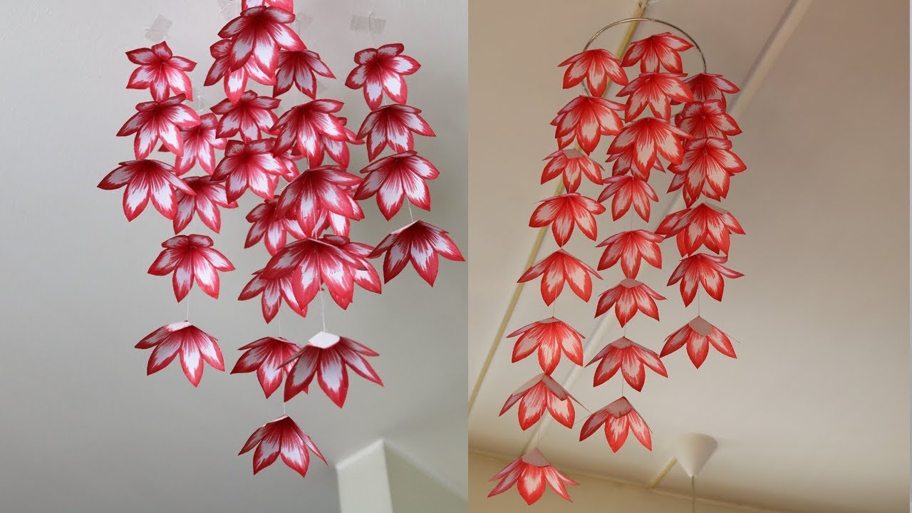 DIY Simple Home Decor , Hanging Paper Flowers , Handmade Decoration