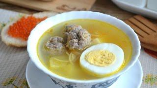 Детский суп с фрикадельками.