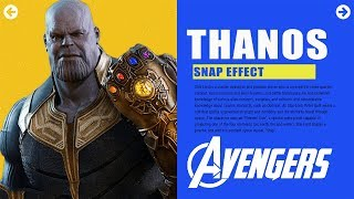 Thanos Snap Hover Effect & Navigation using HTML ,CSS, JS