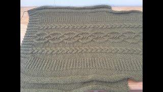 Ч.1.Мужской свитер с аранами и косами, вязание спицами из шерстяной пряжи