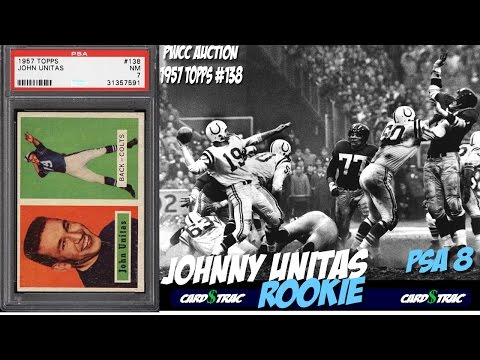 1957 Johnny Unitas rookie card Topps #138 for sale; graded PSA 8. PWCC Premier Auctions