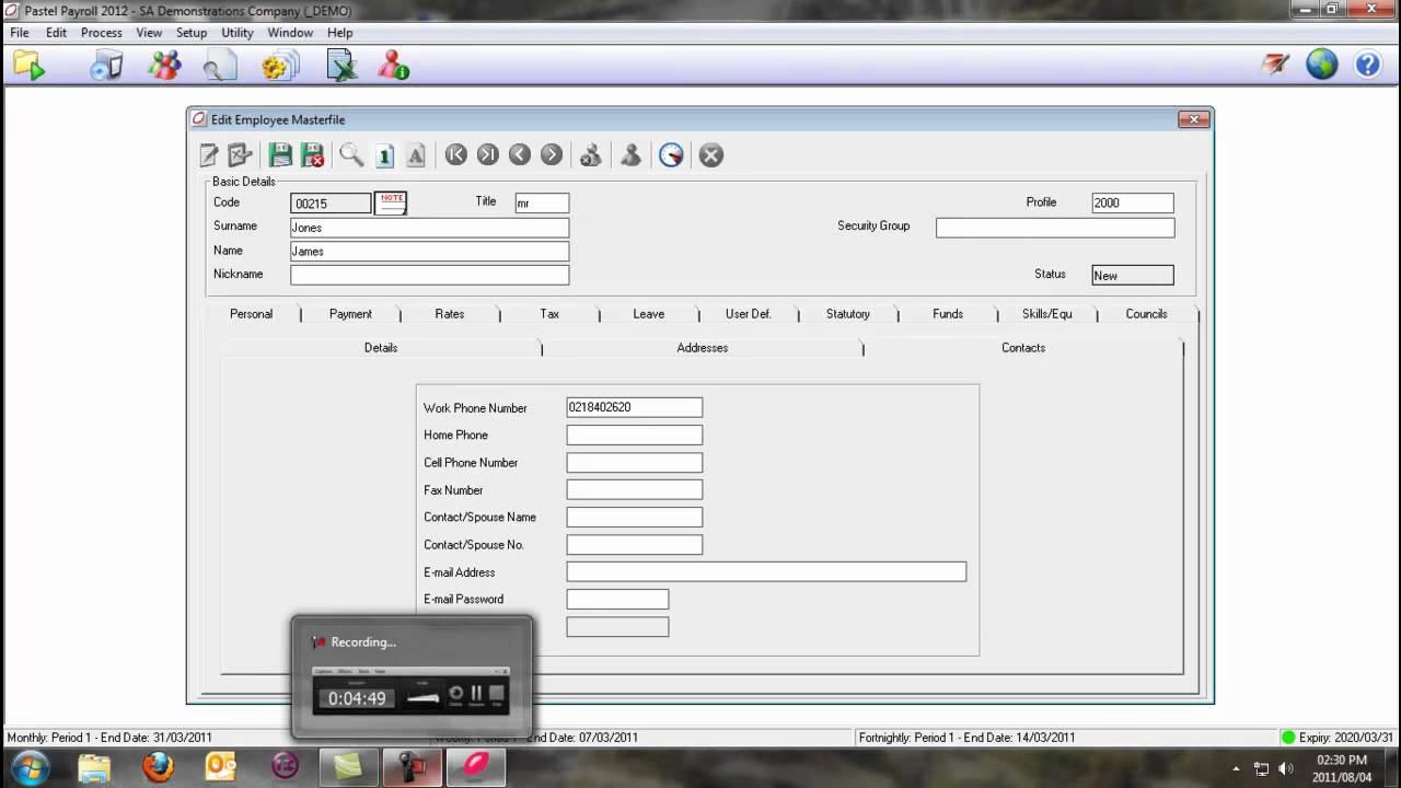 Pastel payroll user manual.