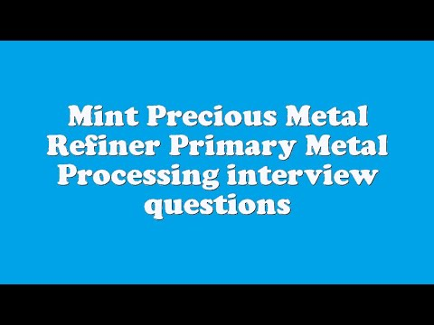 Mint Precious Metal Refiner Primary Metal Processing interview questions