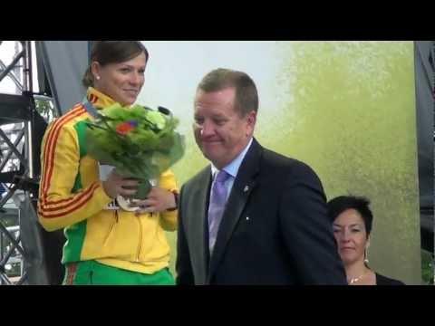 LAF: L.Grincikaite apdovanojama Europos cempionato bronzos medaliu