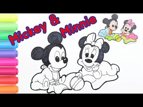 Coloring Minnie & Mickey Mouse Disney Coloring Page|How To Draw BABY Mickey Mouse Cute