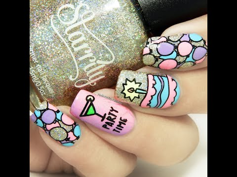 DIY Birthday Party Nails ||Reverse Stamping Technique||