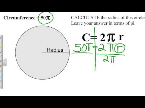 Calculating radius given circumfernce in terms of pi youtube calculating radius given circumfernce in terms of pi ccuart Gallery