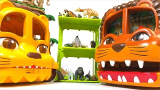 【ANIA】Outing lion bus animal parent and child