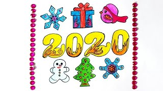 How to Draw Very Easy and Colourful Happy New Year 2020 Drawing Happy New Year Poster