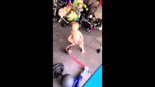 Toddler doing circuit training