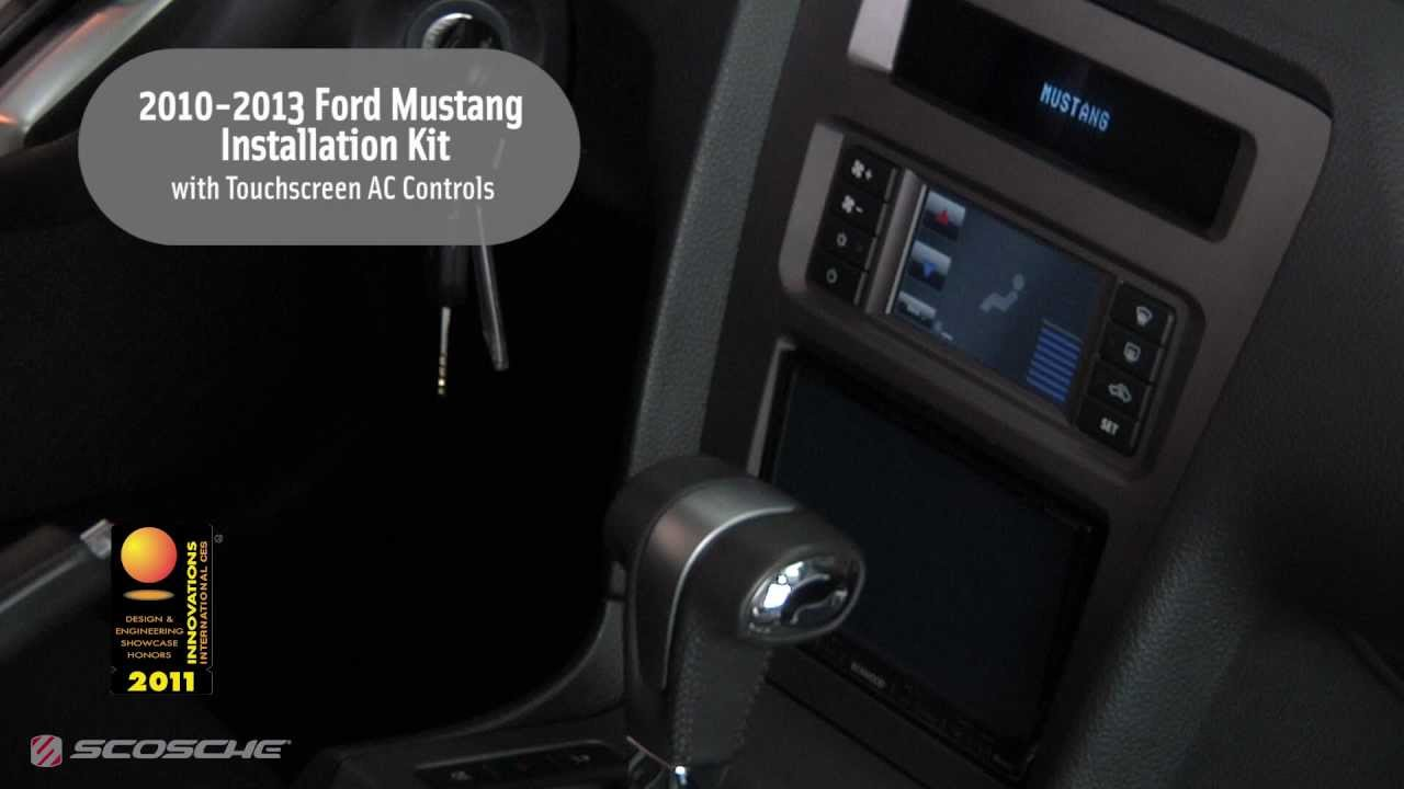 scosche 2010 2013 ford mustang installation kit with touchscreen ac controls youtube [ 1280 x 720 Pixel ]