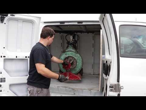 Custom Hoists Lift Sewer Cable Machines Into Van