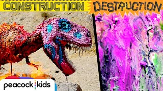 Melting a GIANT Crayon T-Rex! | JURASSIC WORLD'S CONSTRUCTION DESTRUCTION
