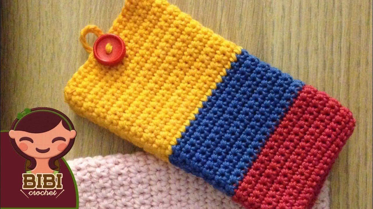 comprar nuevo compra venta buena textura Como hacer una Bolsa o Funda en Crochet para tu Celular | Bibi ...