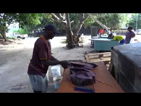 big tuna filleting-Anse Royale / Mahe Seychelles Island 2013 (HD)