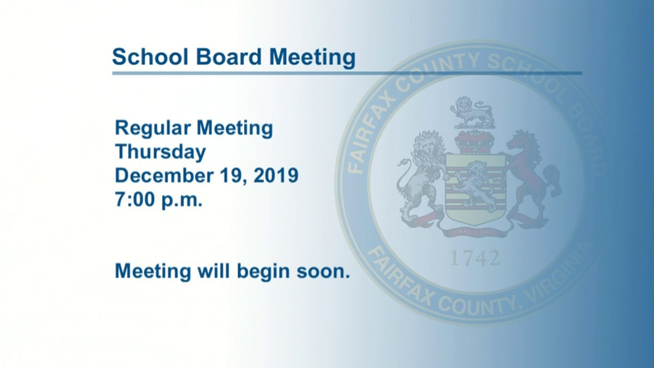 FCPS School Board Meeting 12/19/19