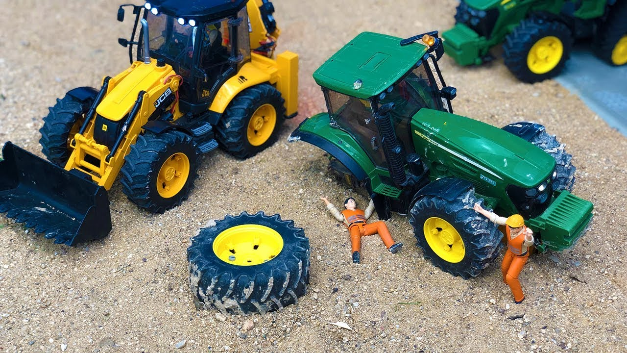 Bruder Tractor Broken Wheel JCB Backhoe Tractor Excavator Construction Toys Kids Action