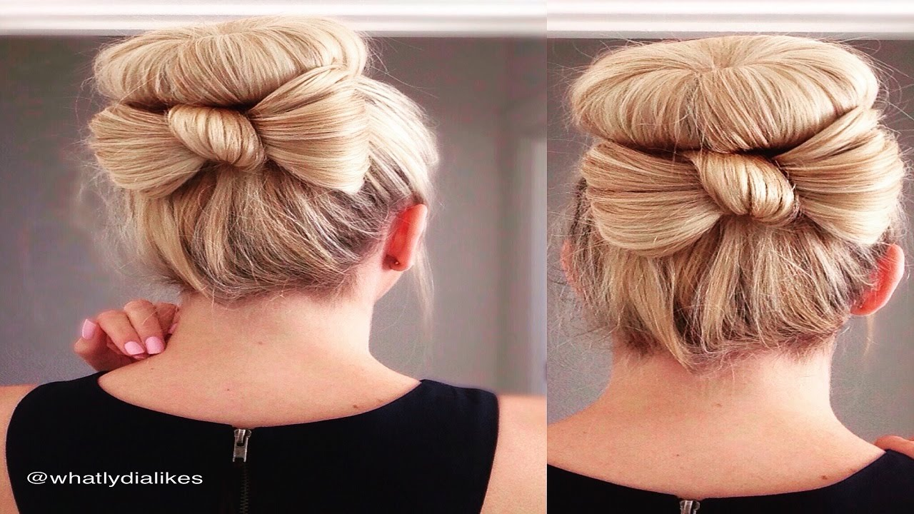 Cute bun with bow hair tutorial youtube cute bun with bow hair tutorial baditri Gallery