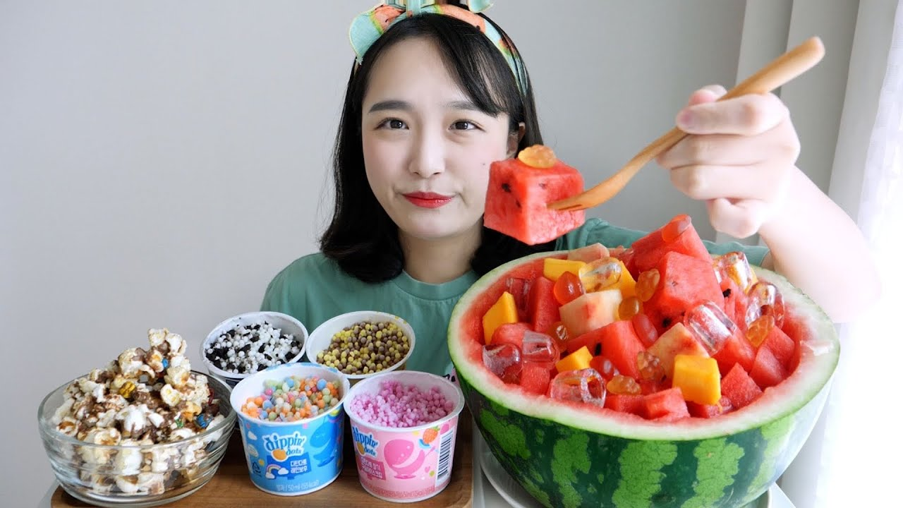 시원 달달하게🍉🌊망고 복숭아 수박화채 먹방 ft. 젤리💜구슬아이스크림, 엠앤엠스 팝콘 REALSOUND MUKBANG | Watermelon punch,Ice cream :D