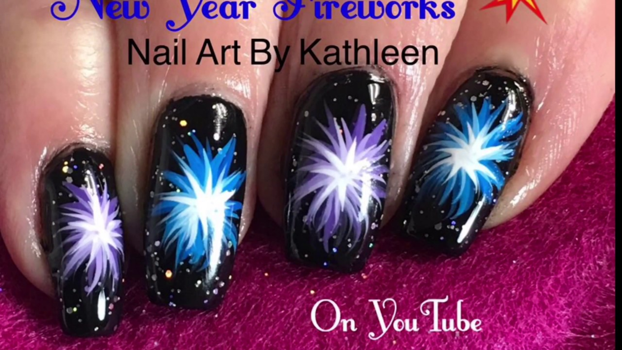 New Year Nails - Fireworks (Freehand) Nail Art Tutorial - New Year Nails - Fireworks (Freehand) Nail Art Tutorial - YouTube