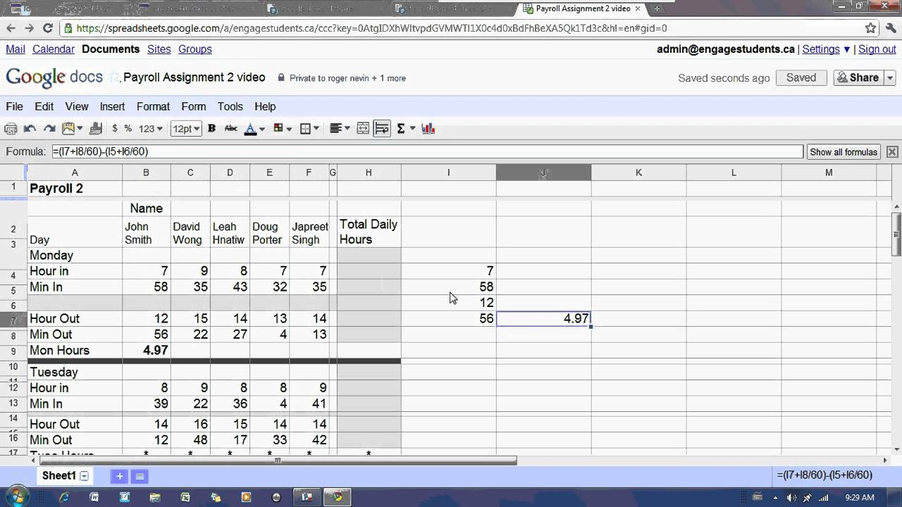 google docs spreadsheet payroll 2 tutorial youtube